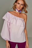 3020120 Lilac One Shoulder Ruffle Blouse