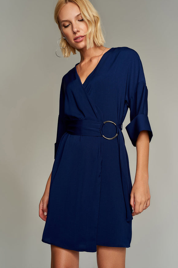 4510015 Navy Blue Wrap Dress