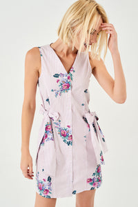 1210069 Powder Flower Shirt Dress