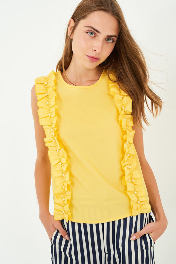 3020126 Yellow Ruffle Blouse