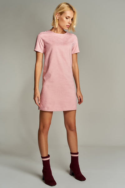 1210071 Pink Suede Shift Dress