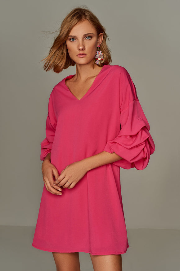 4510121 Fuschia Volan Sleeve Dress
