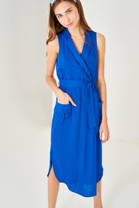 1210074 Blue Belt Shirt Dress