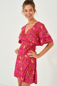 1210075 Pink Volan Wrap Dress