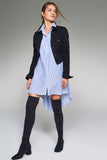 1210076 Blue Striped Shirt Dress