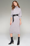 1210081 Grey Turtleneck Sweater Dress