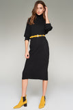 1210080 Black Bat Sleeve Sweater Dress