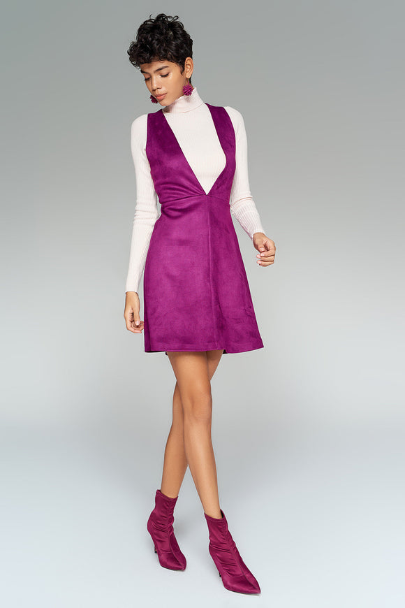1210223 Purple V Neck Pinafore Dress