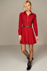 4510139 Bordeaux Front Zip Skater Dress