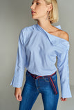 3020138 Blue Stripe Off-Shoulder Blouse