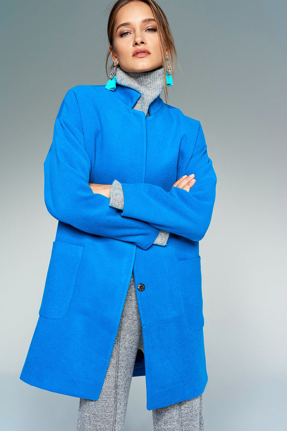 3550100 Blue High Collar Coat