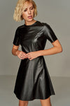 1210224 Black Faux Leather Dress