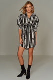 1210085 Black Puff Sleeve Shirt Dress