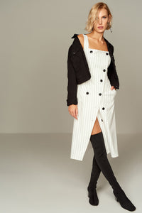 1210086 White Striped Apron Dress
