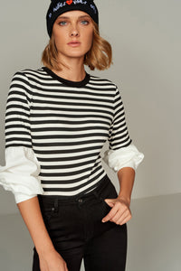 3020366 White-Black Striped Blouse