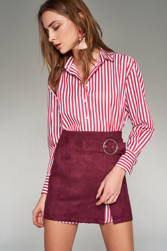 2910079 Burgundy Suede Mini Skirt