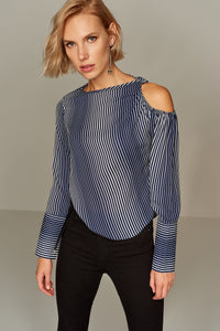 3020142 Navy Blue Stripe Blouse