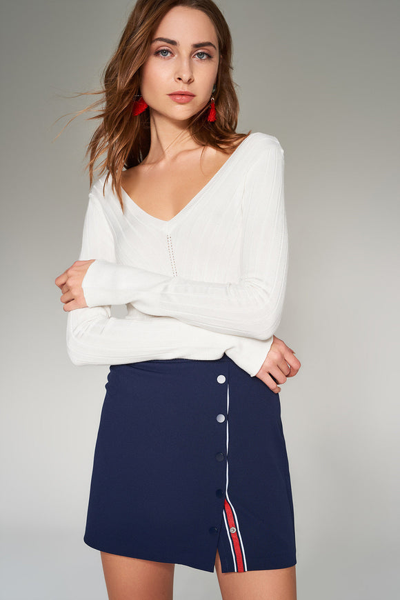 2910080 Navy Blue Button Mini Skirt
