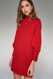 4510033 Red Cuffed Sleeve Dress