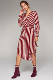 1210225 Red Stripe Wrap Dress