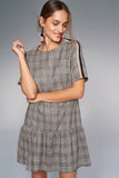 4510035 Grey Plaid Drop Waist Dress