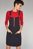 1210088 Black Pinafore Dress