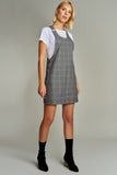 1210089 Grey Plaid Pinafore Dress
