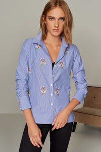3010050 Blue Embroidered Shirt