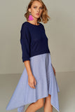1210090 Blue Double Layer Dress
