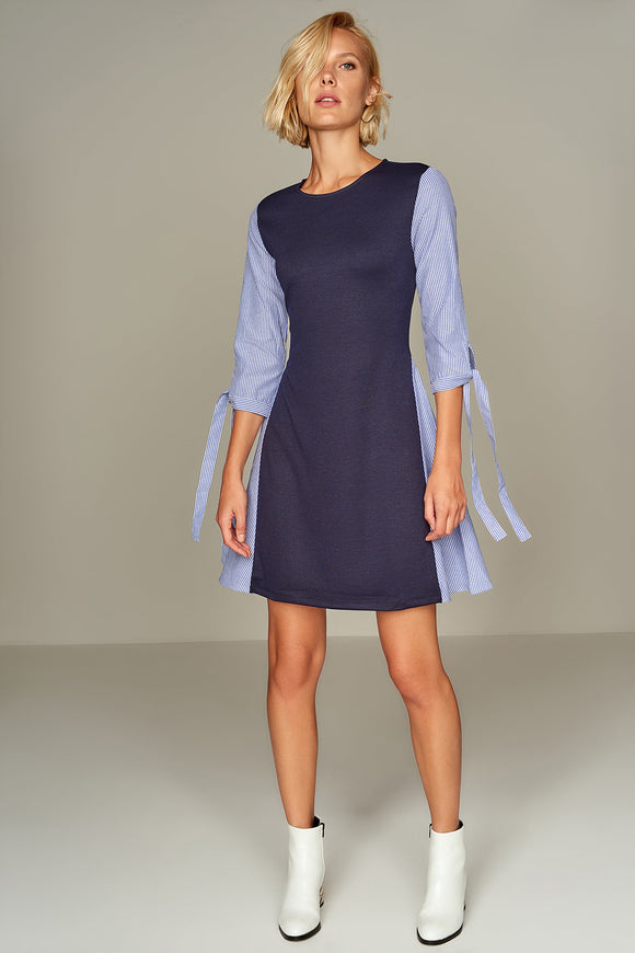 4510178 Blue Striped Detail Shift Dress