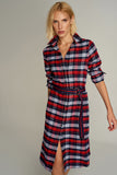 4510180 Red Plaid Shirt Dress