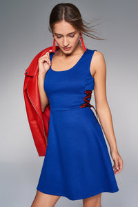 1210092 Blue Draw String Detailed Dress