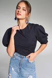 3020149 Navy Blue Puff Sleeve Blouse