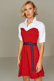 4510187 Red & White Shirt Collar Dress