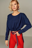 3020151 Navy Blue Elastic Waist Blouse