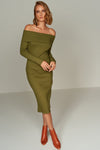 1210094 Khaki Off-Shoulder Sweater Dress