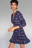 4510020 Navy Blue Plaid Wrap Dress