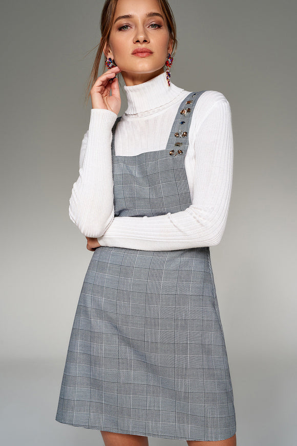 4510191 Grey Pinafore Plaid Dress