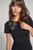 1210099 Black Star Detail Dress