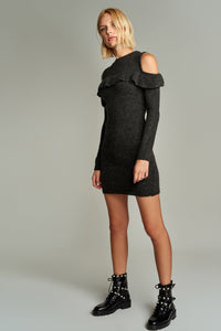1210100 Anthracite Open Shoulder Dress
