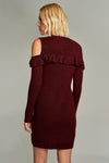 1210101 Bordeaux Open Shoulder Dress