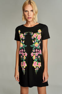 1210104 Black Flower Printed Dress