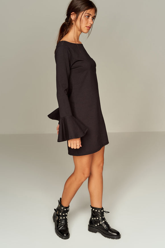 4510230 Black Flared Sleeve Shift Dress
