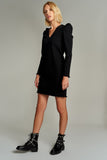 1210108 Black Puff Sleeve Shift Dress