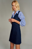 1210110 Navy V Neck Denim Dress