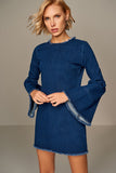 1210112 Denim Waistl Sleeve Short Dress
