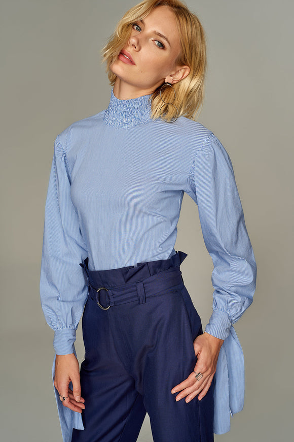 3020226 Blue Striped High Collar Blouse