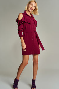 4510040 Bordeaux Open Shoulder Shirt Dress