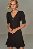 4510231 Black Front Zip Dress