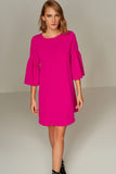 4510236 Fuschia Volan Sleeve Dress